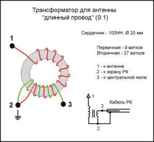 Трансформатор для антенны длинный провод 9:1