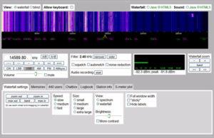 Websdr радиоприемник - рабочий экран