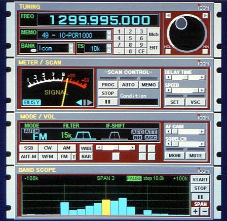 Окно программы управления радиоприемником ICOM IC-PCR1000
