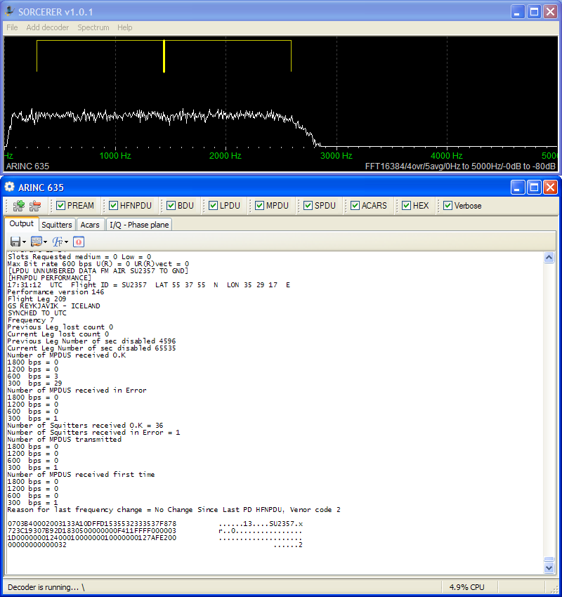 Sorcerer decoding ARINC 635
